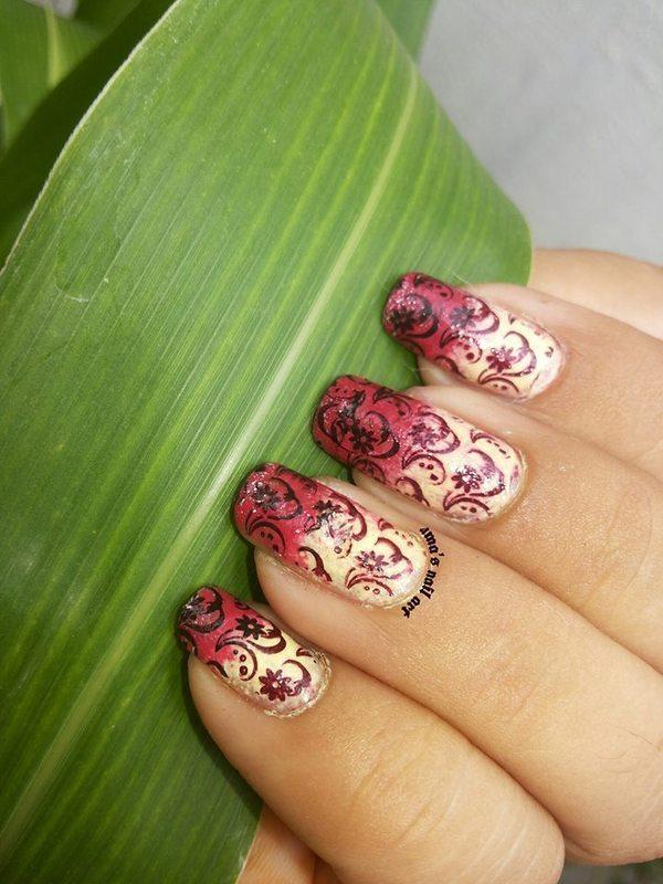 gradient stamping nail art by Uma mathur
