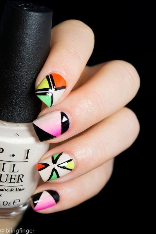 Mixed Neons nail art by  Petra  - Blingfinger