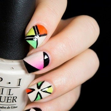 Mixed Neons nail art by  Petra  - Blingfinger
