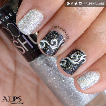 Black and Silver glitter nails by Alpsnailart nail art by Alpsnailart