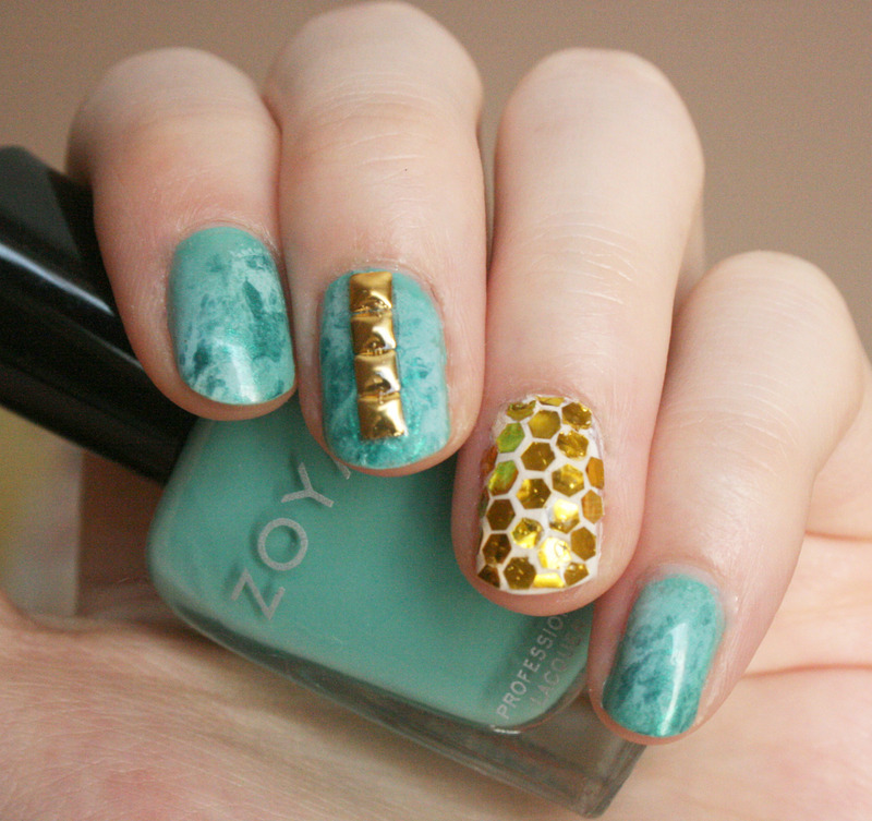 Turquoise and Gold Glitter Placement nail art by Anya Qiu