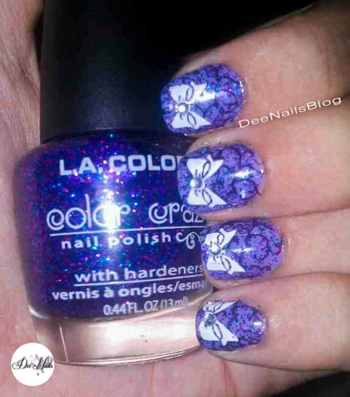 Purples and bows nail art by Diana Livesay