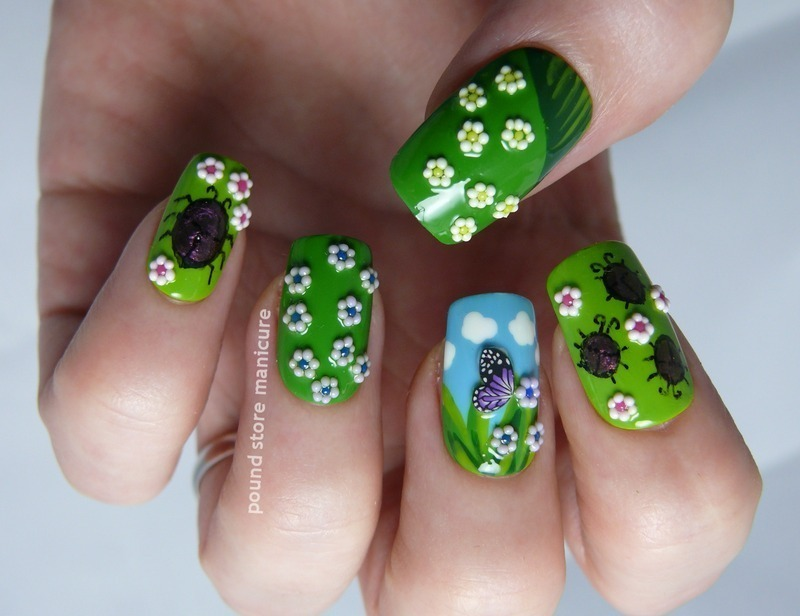 Garden nail art by Pound Store Manicure