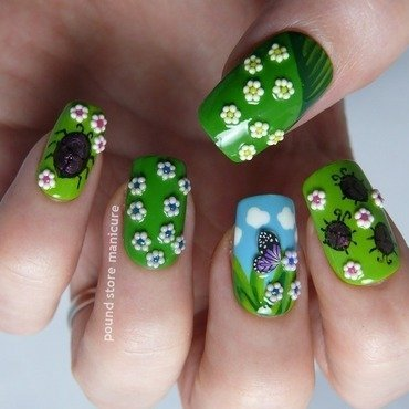 Garden nail art by Pound Store Manicure