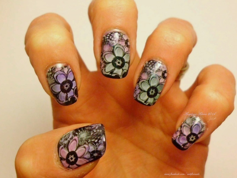 Leadlight Flowers  nail art by Angelique Adams