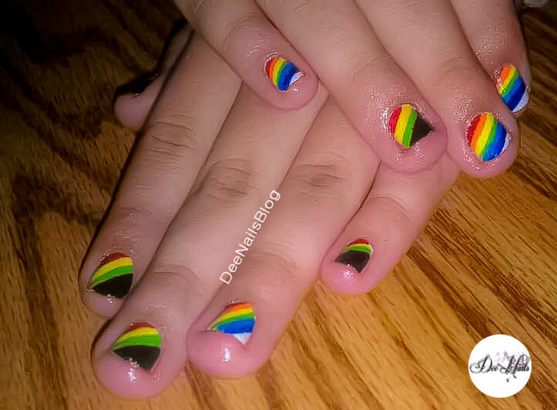 Rasta and rainbows nail art by Diana Livesay