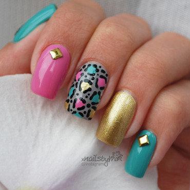 Pink mint gold leopard print nail art by xNailsByMiri