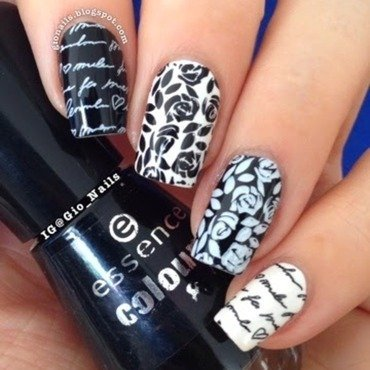 Romance in Black & White nail art by Giovanna - GioNails