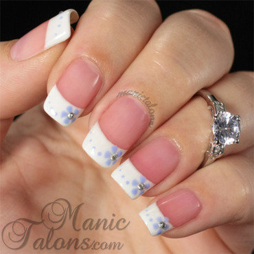 Simple French with flowers nail art by ManicTalons
