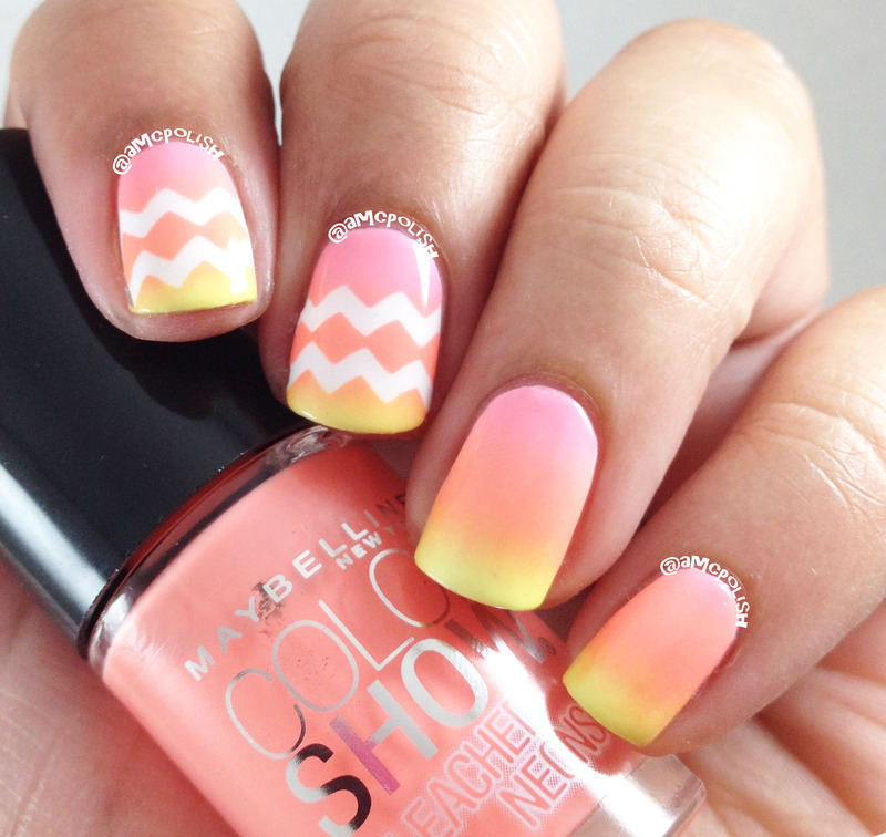 Neon Chevrons nail art by Amber Connor