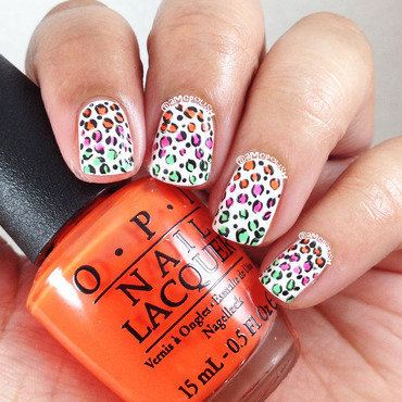 Neon Animal Print nail art by Amber Connor