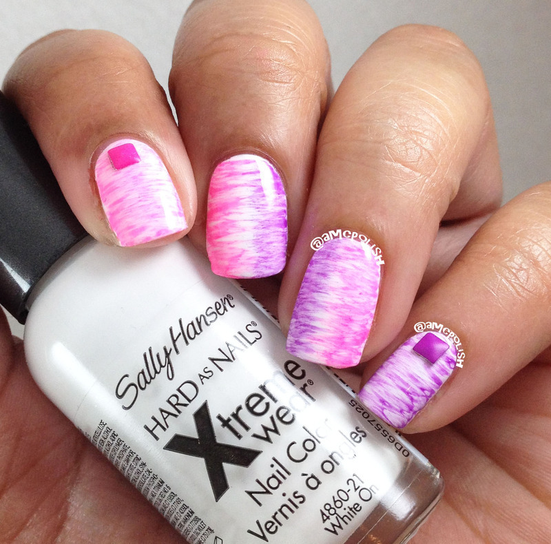 Neon Fan Brush nail art by Amber Connor
