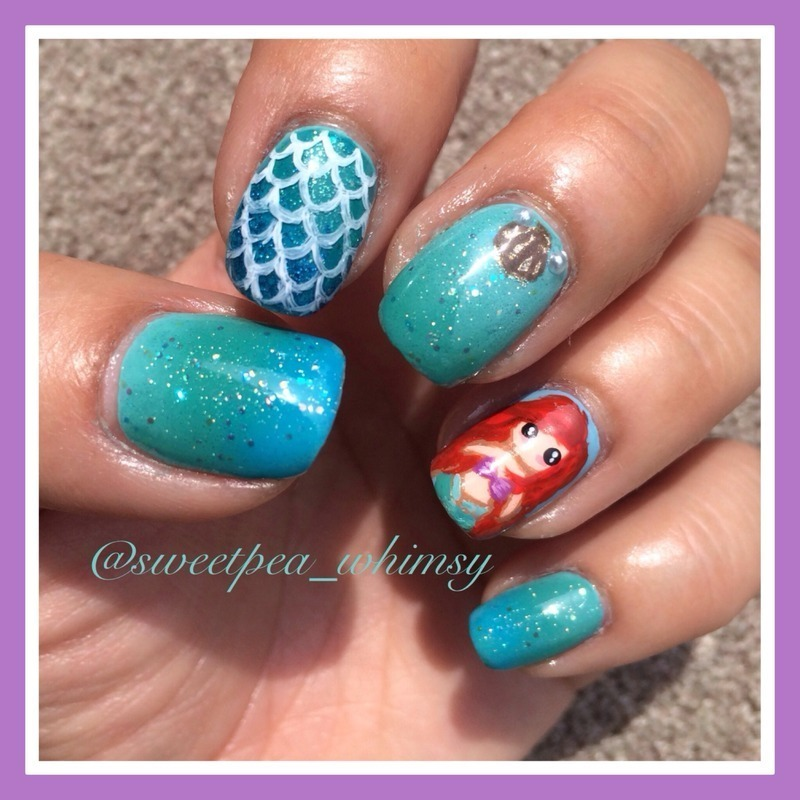 The Little Mermaid nail art by SweetPea_Whimsy