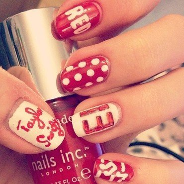 Taylor Swift Red Nails nail art by sophdoesnails -