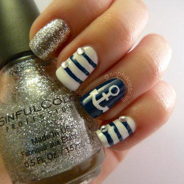 Navy Nautical Nails nail art by sophdoesnails -