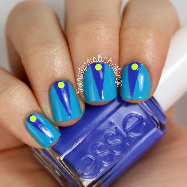Color Blocking and Neon Studs nail art by Kelli Dobrin