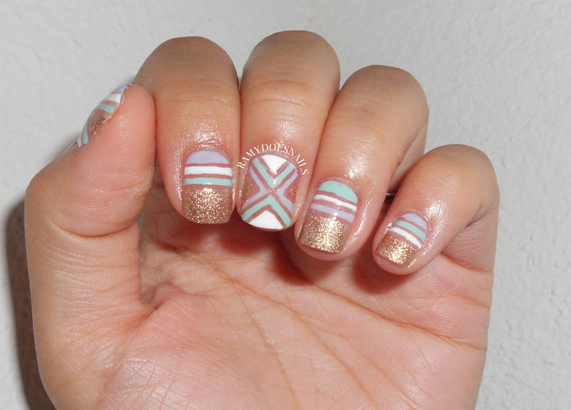 Gold & Pastels nail art by Ramy Ang