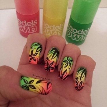 Neon Jungle nail art by Danielle  Hails