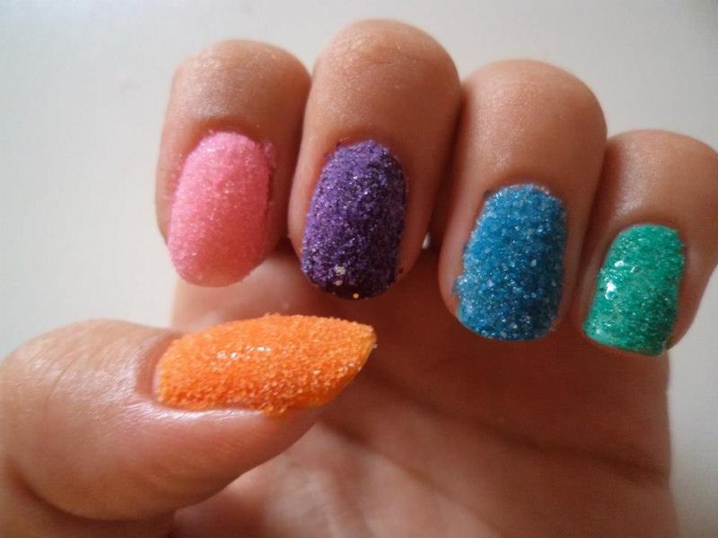 Rainbow sand nail art by TheBeautycake