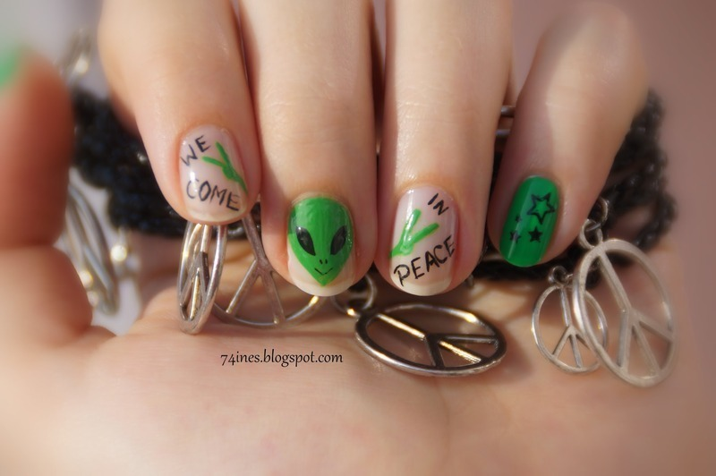 Alien nails nail art by 74ines