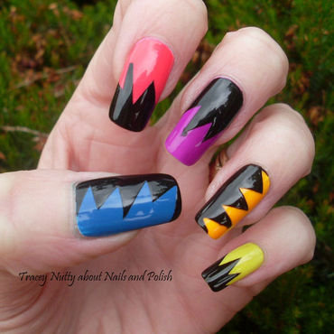 Neon and Black nail art by Tracey - Bite no more