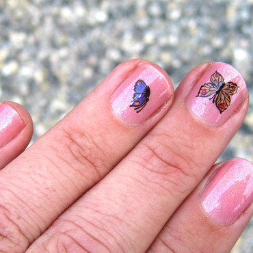 Butterfly water decals nail art by Vicky