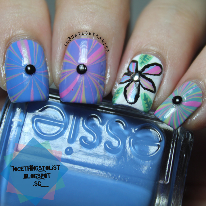 Water Marble Flower nail art by Karise Tan