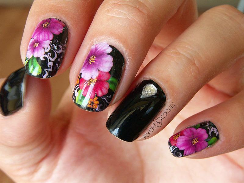Pink Flowers nail art by PolishCookie