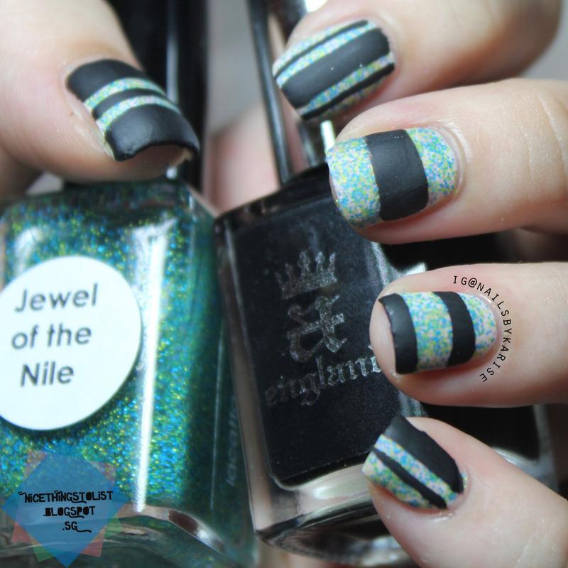 Matte black blocking nail art by Karise Tan