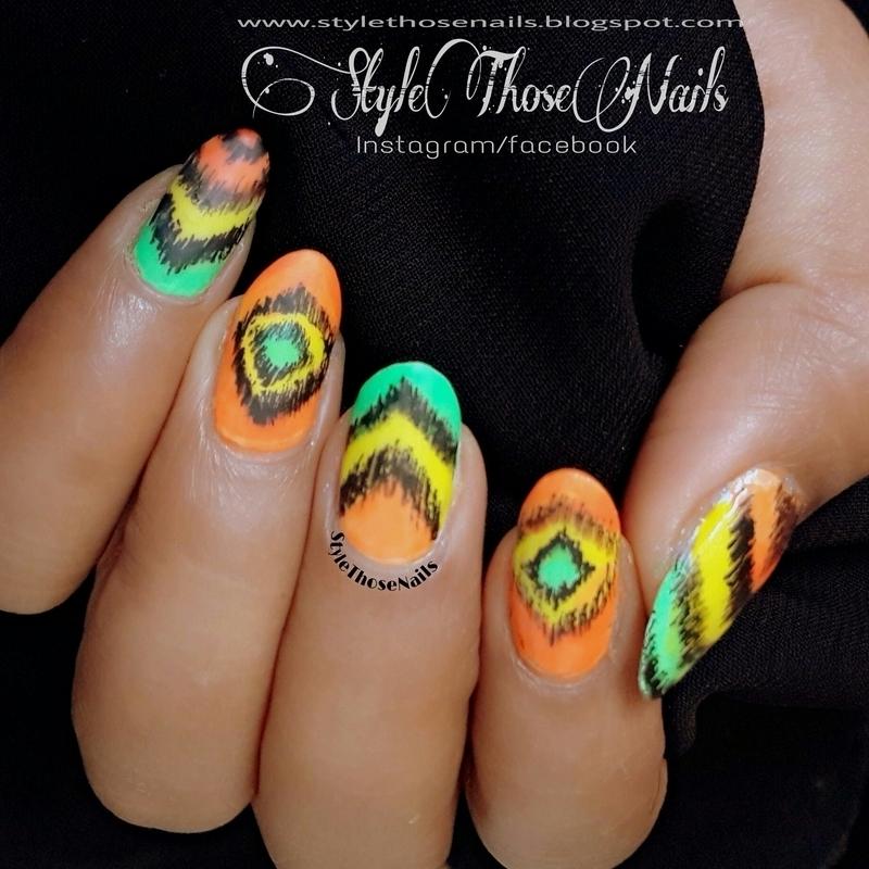 Summer Nails- Ikat Nailart nail art by Anita Style Those Nails