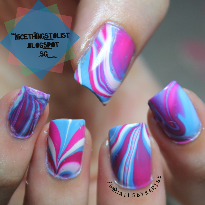Ice Cream Water Marble nail art by Karise Tan