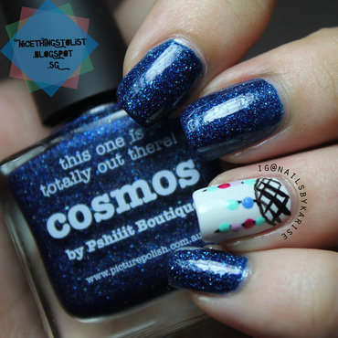 Dreamcatcher in Space nail art by Karise Tan
