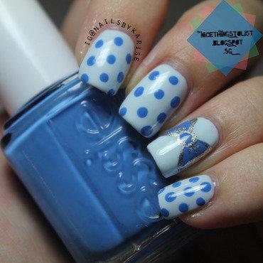 Polka dots and bow nail art by Karise Tan