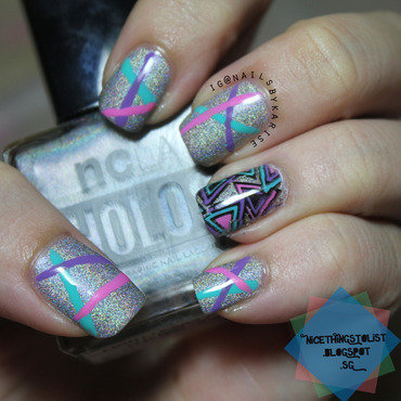 Stripes and Triangles Stamp Decal nail art by Karise Tan