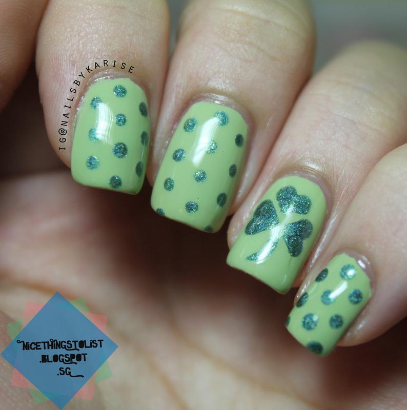 Saint Patrick's Day nail art by Karise Tan
