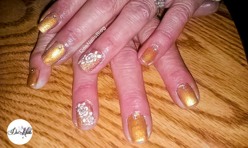 Gold with roses nail art by Diana Livesay