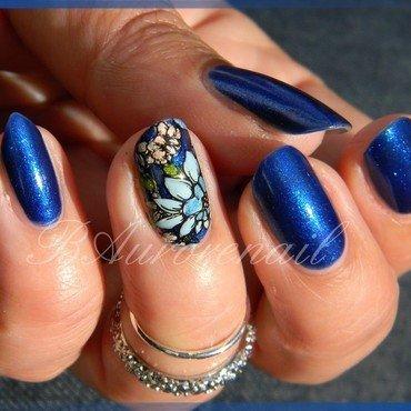 fleur bleue nail art by BAurorenail