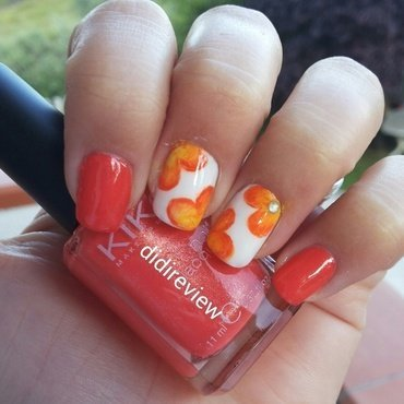orange flowers nail art by Didi didireview