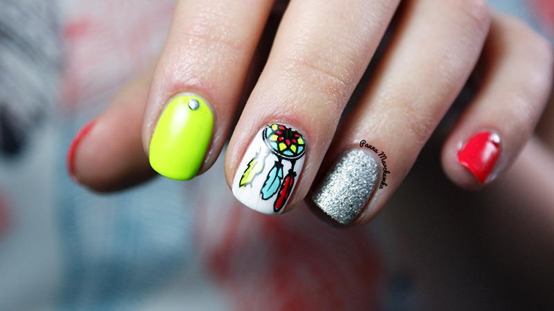 dreamcatcher nail art by Panna Marchewka