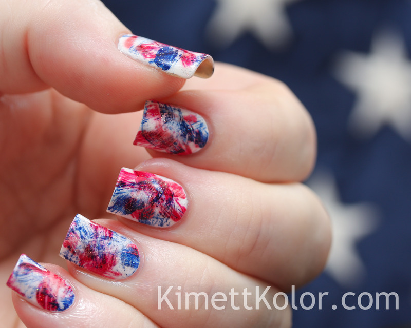 Patriotic Brushstrokes nail art by Kimett Kolor