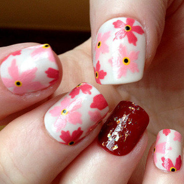 Pink Flowers nail art by Celtess
