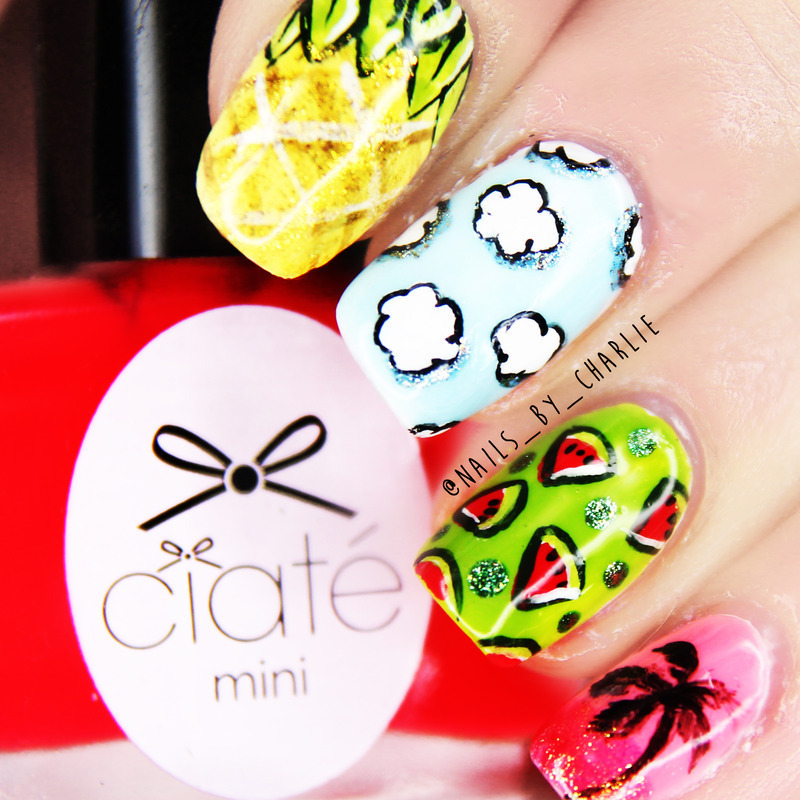 Summer groove nail art by Charlie Bourdeau