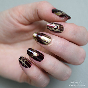 Burgundy and gold Art Deco nail art by simplynailogical