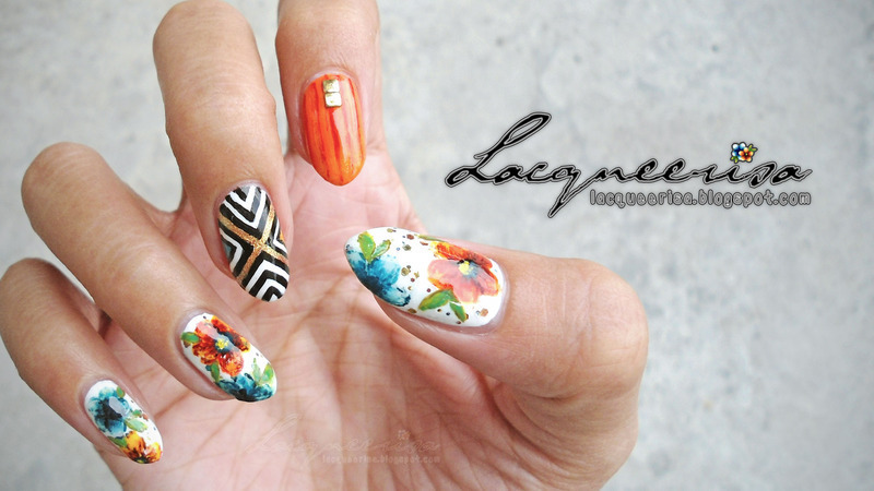 Clashing Colours nail art by Lacqueerisa