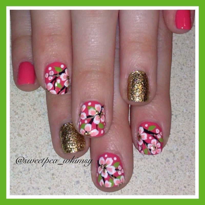 Coral and Floral nail art by SweetPea_Whimsy