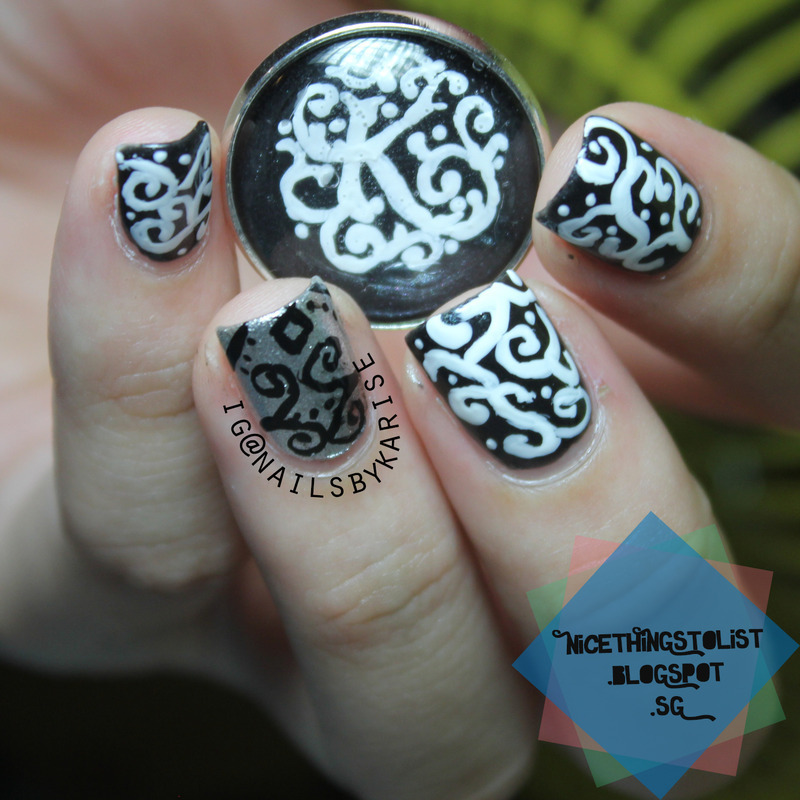 Vintage Swirly in Black and White nail art by Karise Tan