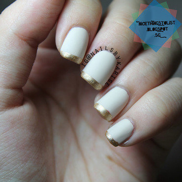 Nude and Gold French Tip nail art by Karise Tan
