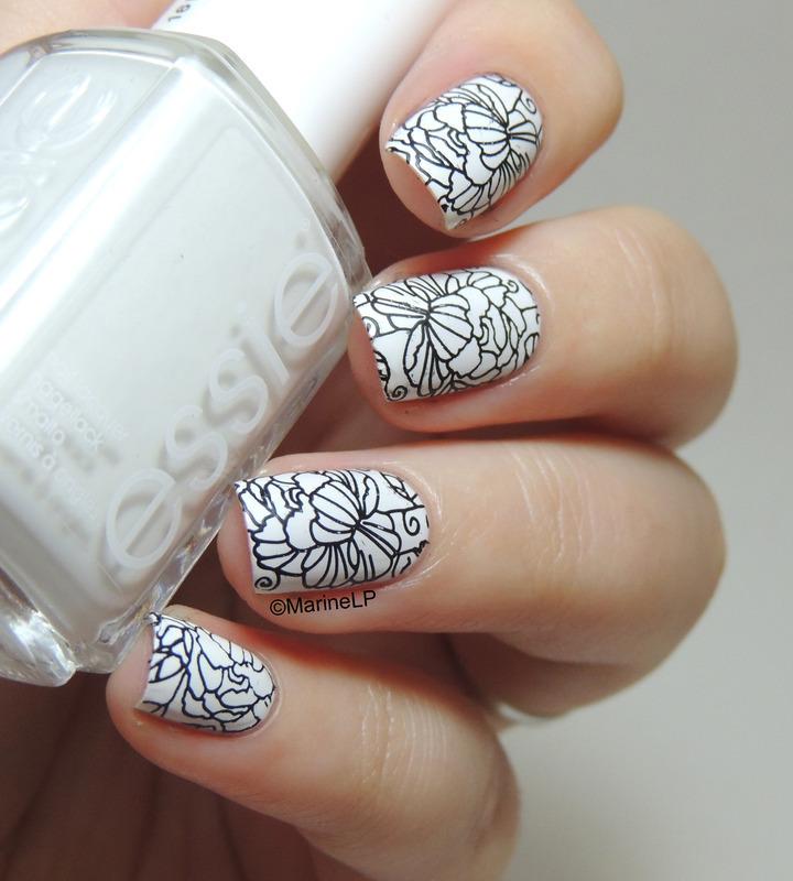 Black And White Floral Nail Art By Marine Loves Polish Nailpolis