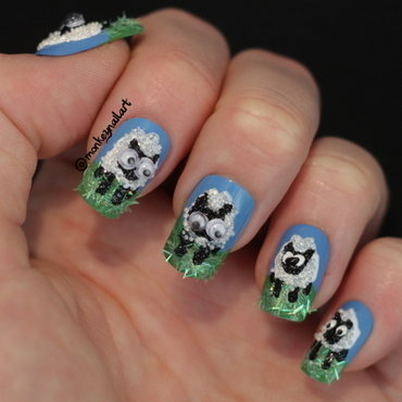 Mad About Ewe nail art by Rachel