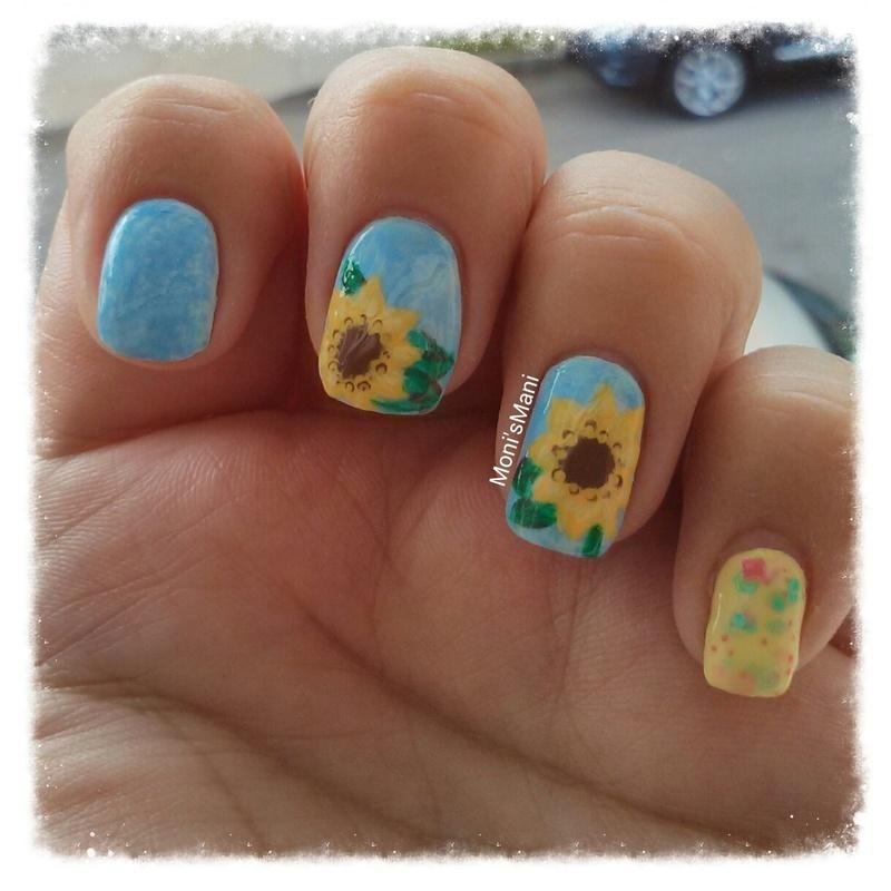 my first sunflower Mani! nail art by Moni'sMani